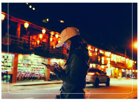 Lady looking at mobile phone